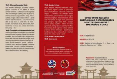 São Luis sedia curso sobre relações institucionais e intercâmbios entre o MA e a China