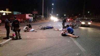 Colisão entre duas motos deixa quatro pessoas feridas em Imperatriz