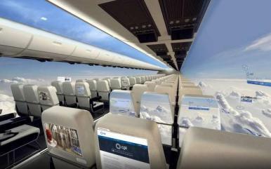 Avião sem janelas permite vista panorâmica a passageiros