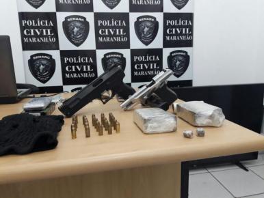 Polícia Civil apreende arma de fogo, munições e droga em Timon