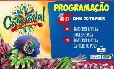 Começa nesta quarta-feira (6) o pré-carnaval na Casa do Tambor