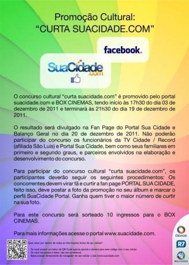"""Concurso cultural """"curta SuaCidade.com"""""""