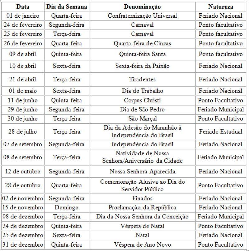 Sao Luis Calendario De Feriados E Pontos Facultativos Em 2020 Suacidade Com